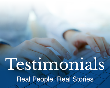 person typing testimonial
