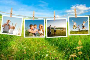 family photos on clotheslines